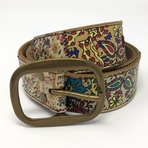 Lucky Brand Brown leather belt paisley floral